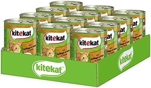Kitekat Katzenfutter Geflügel und Wild in Gelee, 12 Dosen (12 x 400 g)