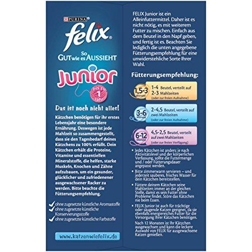 Felix So gut wie es aussieht Junior Katzenfutter Rind, Huhn, Lachs, Sardine, 6er Pack (6 x 12 x 100 g) Beutel - 2