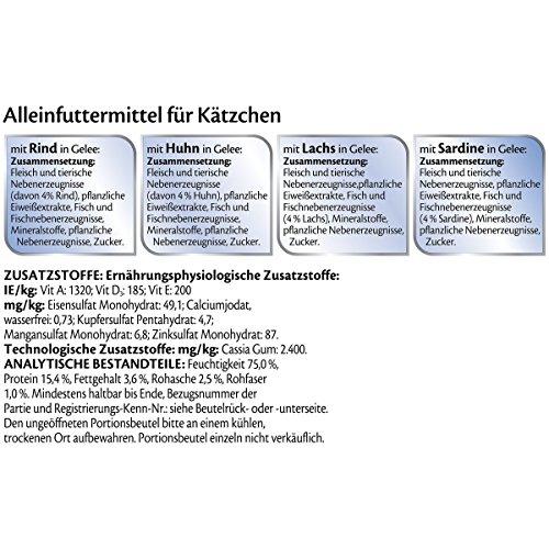 Felix So gut wie es aussieht Junior Katzenfutter Rind, Huhn, Lachs, Sardine, 6er Pack (6 x 12 x 100 g) Beutel - 4