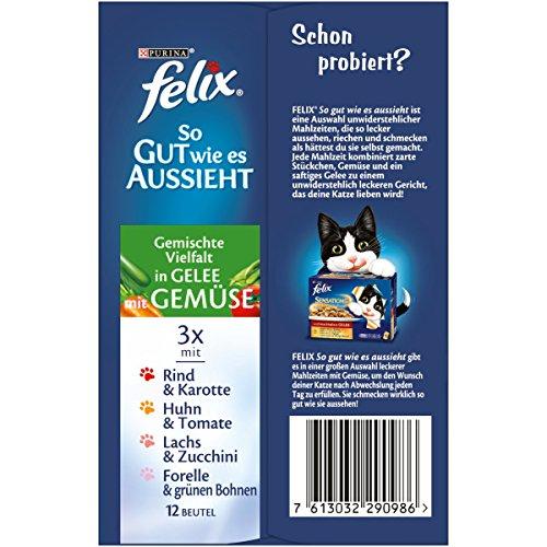 Felix So gut wie es aussieht Katzenfutter Fleisch und Fisch Mix mit Gemüse, 6er Pack (6 x 12 x 100 g) Beutel - 2