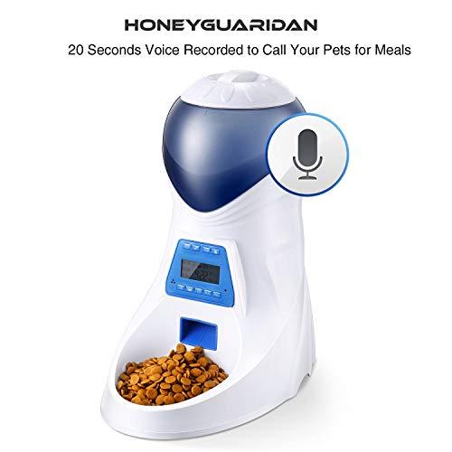 ANMER A25 Futterautomat, Automatischer Futterspender mit akustischer Benachrichtigung und Timer Funktion, 6 Mahlzeiten für Hunde ( Groß, Mittel und Klein ) und Katzen. - 5