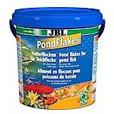 JBL 40199, Hauptfutter für alle Teichfische, Futterflocken PondFlakes, 1er Pack (1 x 10.5 l)