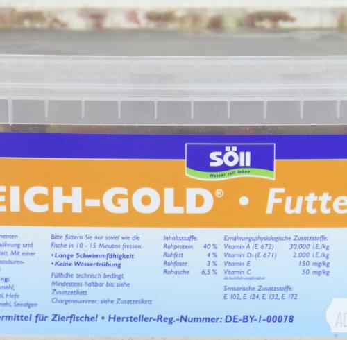 Söll 14700 Teich-Gold Futter-Flocken – Alleinfuttermittel für alle Teichfische – schwimmfähige Teichflocken – 3l - 4